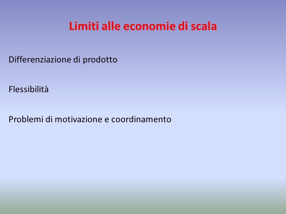 Limiti alle economie di scala Differenziazione di prodotto Flessibilità Problemi di motivazione e coordinamento