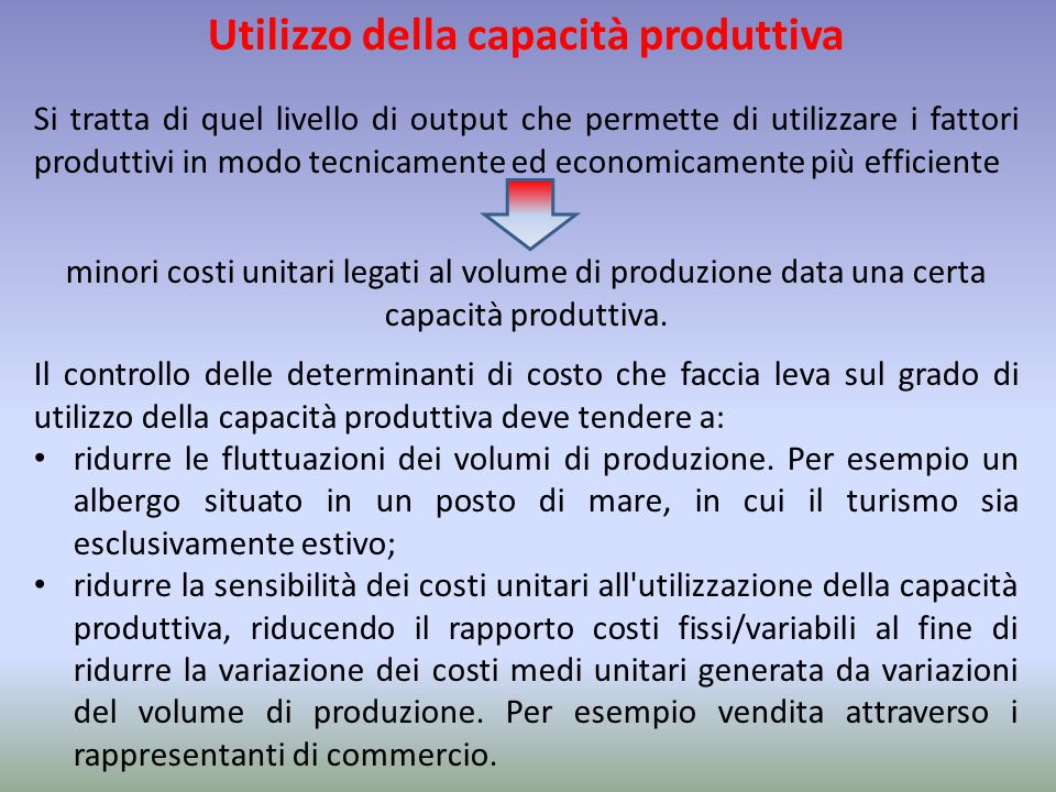 Utilizzo della capacità produttiva Si tratta di quel livello di output che permette di utilizzare i fattori produttivi in modo tecnicamente ed economi