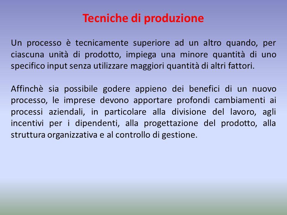 Tecniche di produzione Un processo è tecnicamente superiore ad un altro quando, per ciascuna unità di prodotto, impiega una minore quantità di uno spe