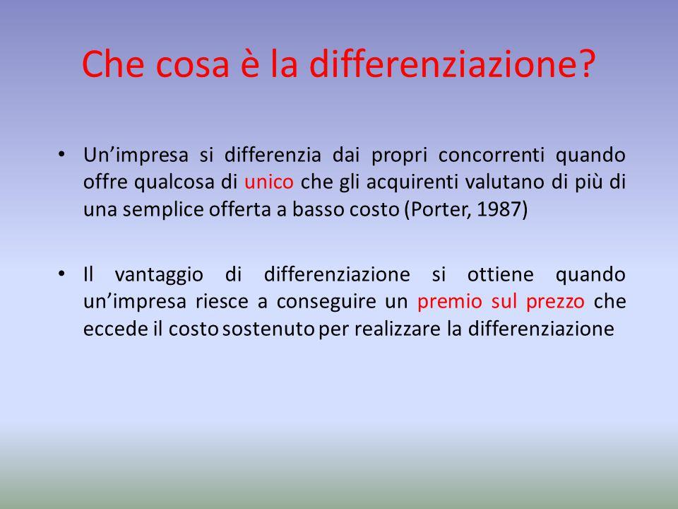 Che cosa è la differenziazione? Un'impresa si differenzia dai propri concorrenti quando offre qualcosa di unico che gli acquirenti valutano di più di