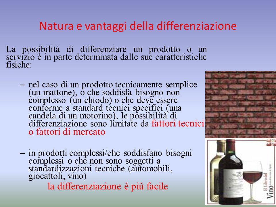 Natura e vantaggi della differenziazione La possibilità di differenziare un prodotto o un servizio è in parte determinata dalle sue caratteristiche fi