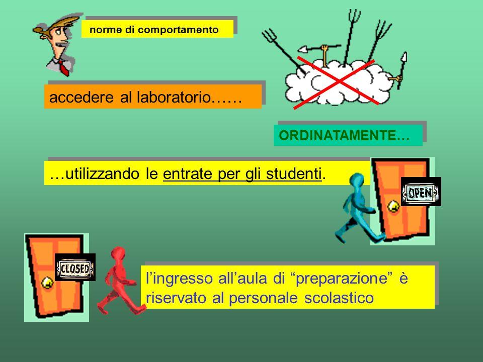 """norme di comportamento accedere al laboratorio…… ORDINATAMENTE… …utilizzando le entrate per gli studenti. l'ingresso all'aula di """"preparazione"""" è rise"""