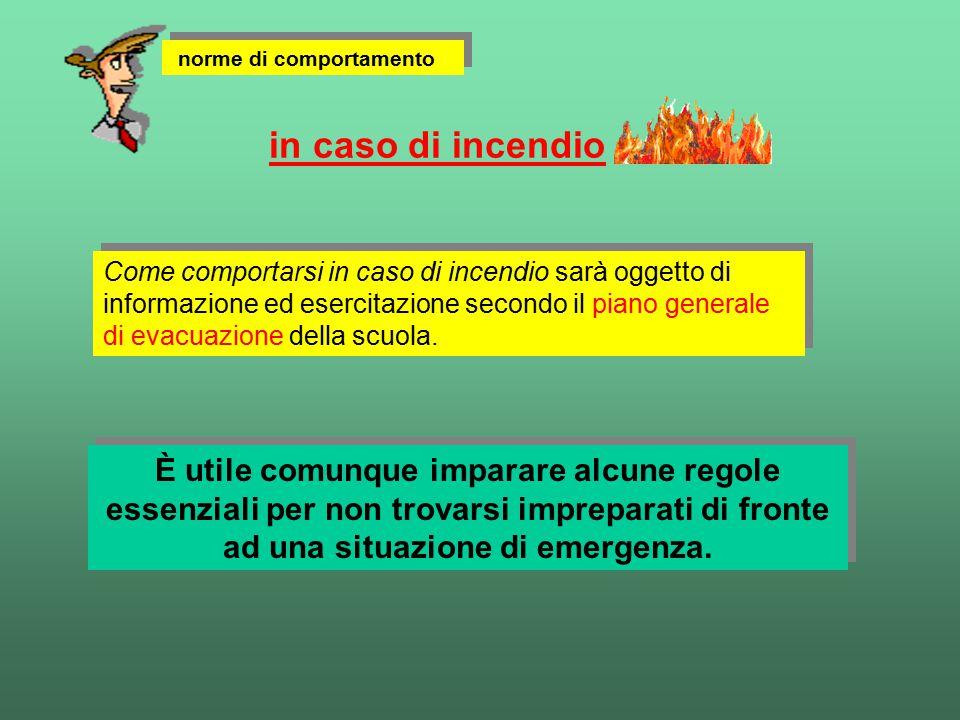 Come comportarsi in caso di incendio sarà oggetto di informazione ed esercitazione secondo il piano generale di evacuazione della scuola. in caso di i