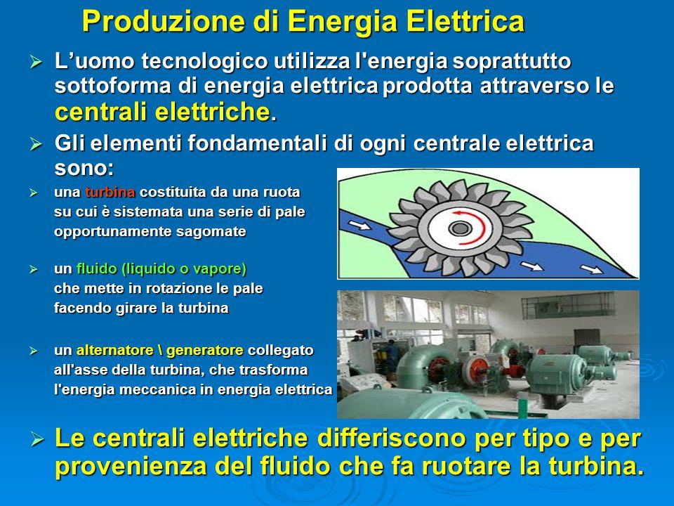 Produzione di Energia Elettrica  L'uomo tecnologico utilizza l'energia soprattutto sottoforma di energia elettrica prodotta attraverso le centrali el