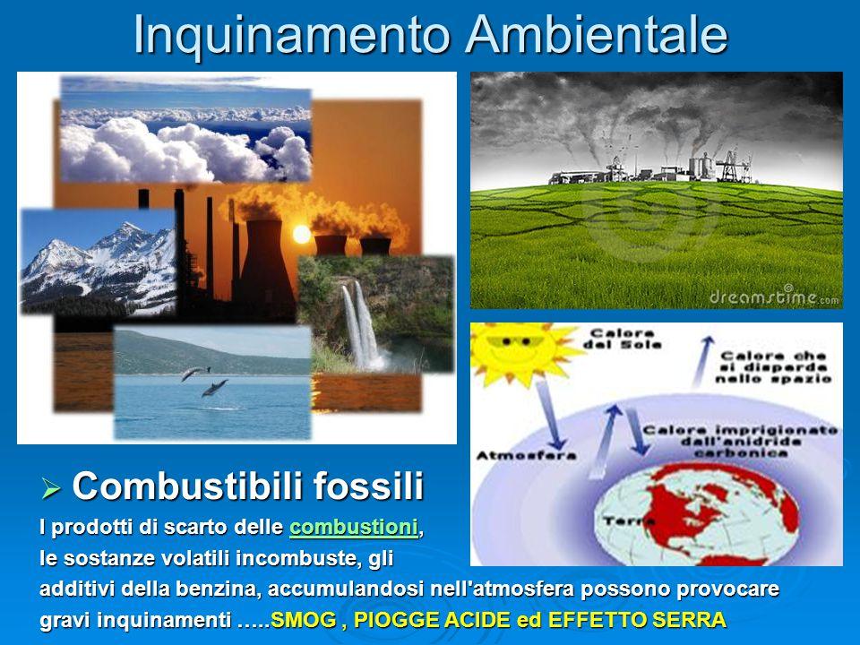 Inquinamento Ambientale  Combustibili fossili  Combustibili fossili I prodotti di scarto delle combustioni, combustioni le sostanze volatili incombu