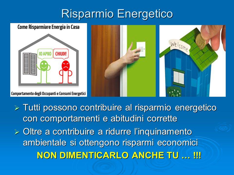 Risparmio Energetico  Tutti possono contribuire al risparmio energetico con comportamenti e abitudini corrette  Oltre a contribuire a ridurre l'inqu