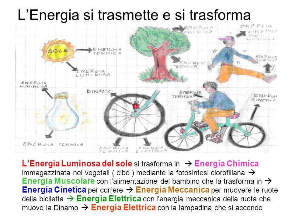 L'Energia si trasmette e si trasforma L'Energia Luminosa del sole si trasforma in  Energia Chimica immagazzinata nei vegetali ( cibo ) mediante la fo