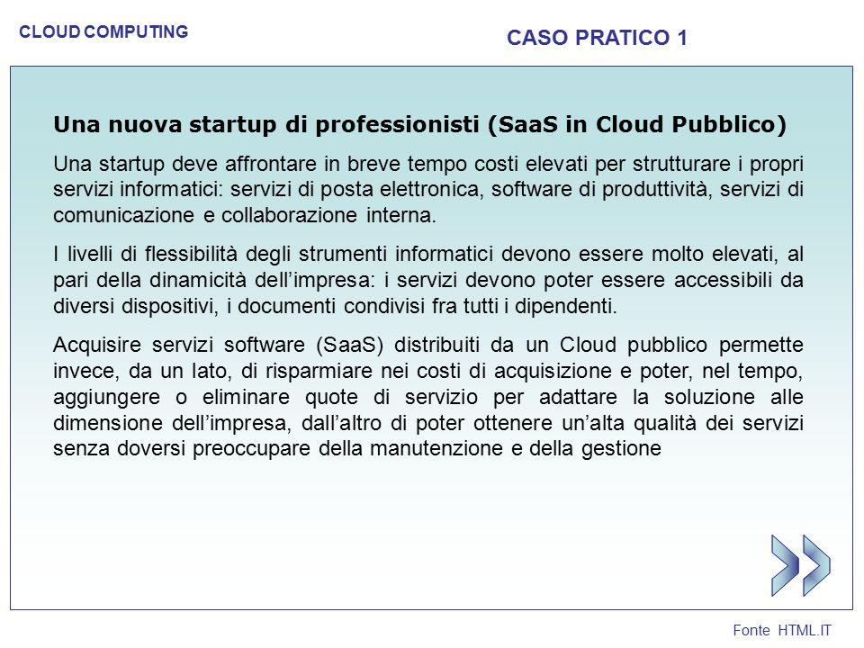Fonte HTML.IT CLOUD COMPUTING CASO PRATICO 1 Una nuova startup di professionisti (SaaS in Cloud Pubblico) Una startup deve affrontare in breve tempo c