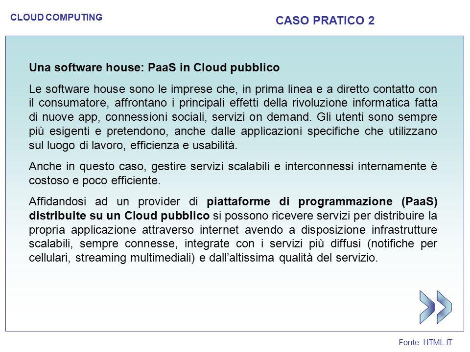 Fonte HTML.IT CLOUD COMPUTING CASO PRATICO 3 Una PMI: SaaS e IaaS in Cloud ibrido Anche le imprese con un'infrastruttura informatica già consolidata e con acquisti importanti in tecnologia dovranno fare i conti presto con il Cloud.