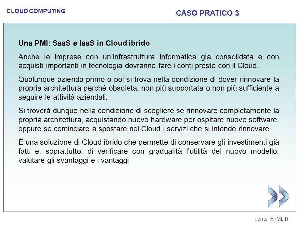 Fonte HTML.IT CLOUD COMPUTING CASO PRATICO 3 Una PMI: SaaS e IaaS in Cloud ibrido Anche le imprese con un'infrastruttura informatica già consolidata e