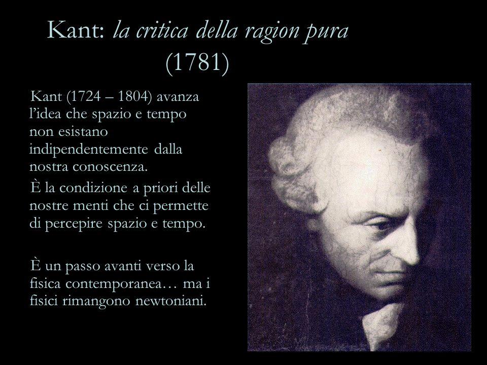 Kant: la critica della ragion pura (1781) Kant (1724 – 1804) avanza l'idea che spazio e tempo non esistano indipendentemente dalla nostra conoscenza.
