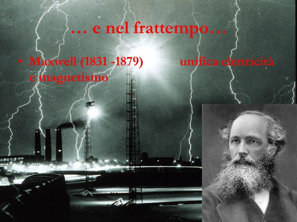 … e nel frattempo… Maxwell (1831 -1879) unifica elettricità e magnetismo