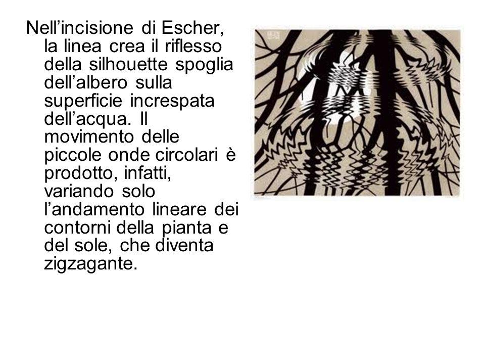 Nell'incisione di Escher, la linea crea il riflesso della silhouette spoglia dell'albero sulla superficie increspata dell'acqua. Il movimento delle pi