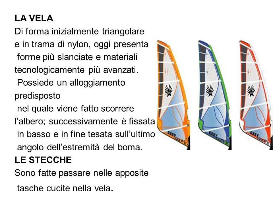 LA VELA Di forma inizialmente triangolare e in trama di nylon, oggi presenta forme più slanciate e materiali tecnologicamente più avanzati. Possiede u