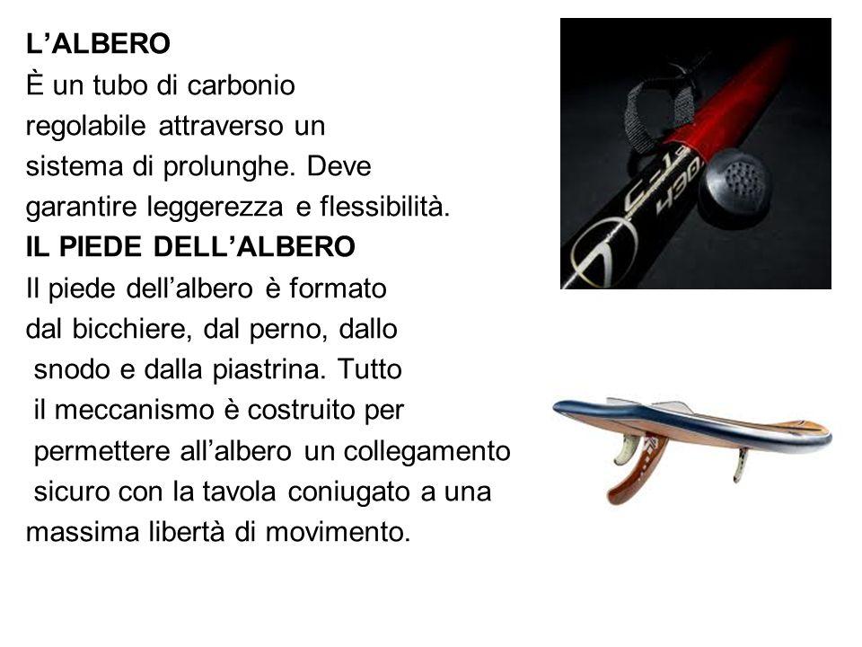 L'ALBERO È un tubo di carbonio regolabile attraverso un sistema di prolunghe. Deve garantire leggerezza e flessibilità. IL PIEDE DELL'ALBERO Il piede