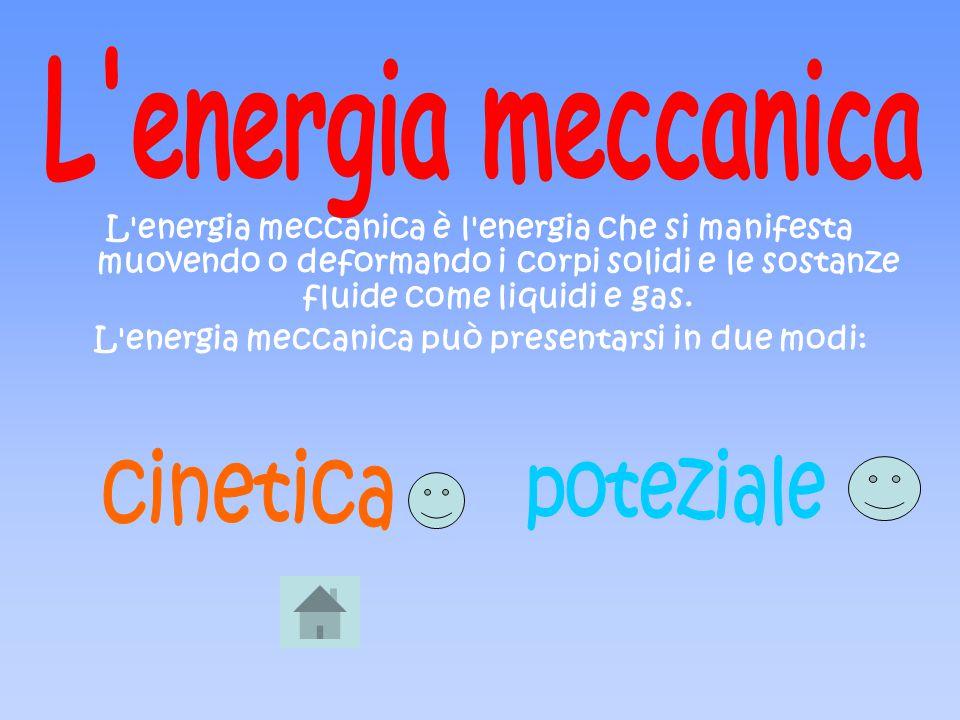 L'energia meccanica è l'energia che si manifesta muovendo o deformando i corpi solidi e le sostanze fluide come liquidi e gas. L'energia meccanica può