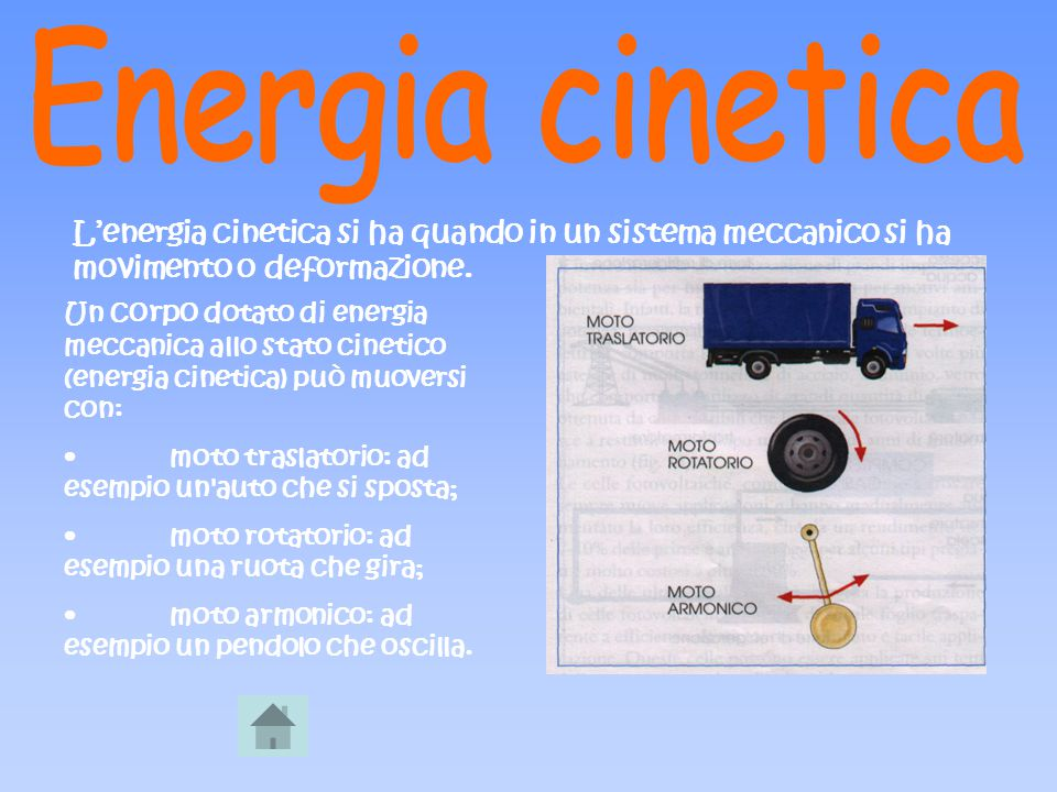 Un corpo dotato di energia meccanica allo stato cinetico (energia cinetica) può muoversi con: moto traslatorio: ad esempio un'auto che si sposta; moto