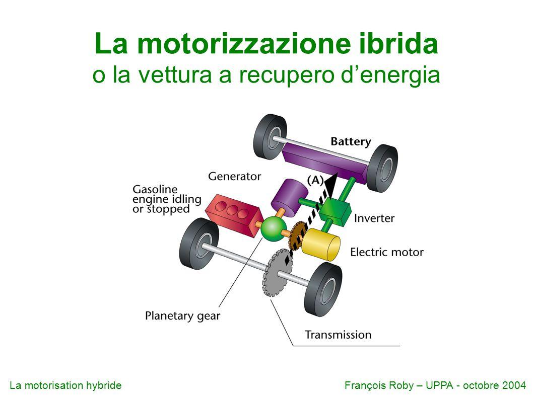 La motorisation hybrideFrançois Roby – UPPA - octobre 2004 La motorizzazione ibrida o la vettura a recupero d'energia