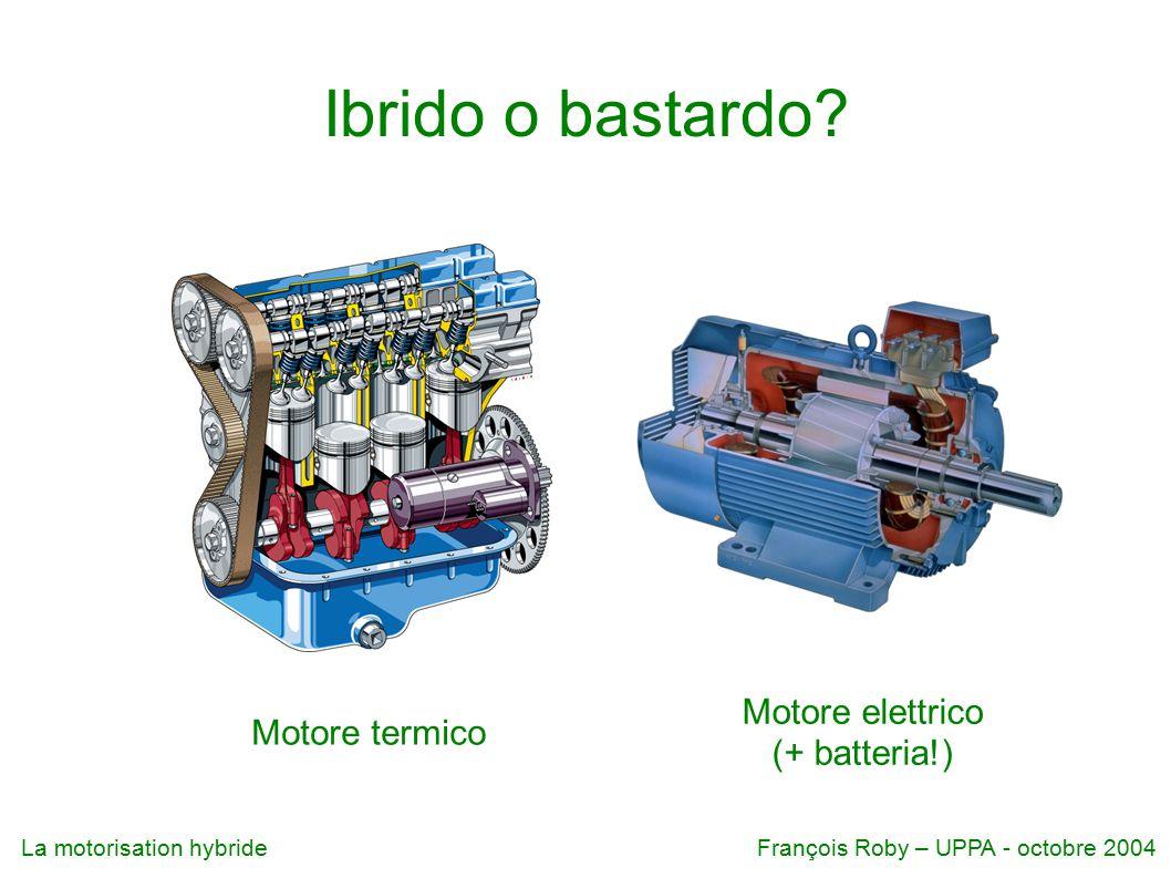 La motorisation hybrideFrançois Roby – UPPA - octobre 2004 ● dislivello : h = 700 m ● massa (vettura + benzina + conducente +...) : m = 1400 kg ● g = 9,81 m.s -2 ●  E p = mgh = 9,6 MJ = 2,7 kWh ●  E batteria = 0,7 kWh Calcoli a tavolino  E batteria /  E p = 0,26 ovvero 4 km gratuiti per 8 km di discesa