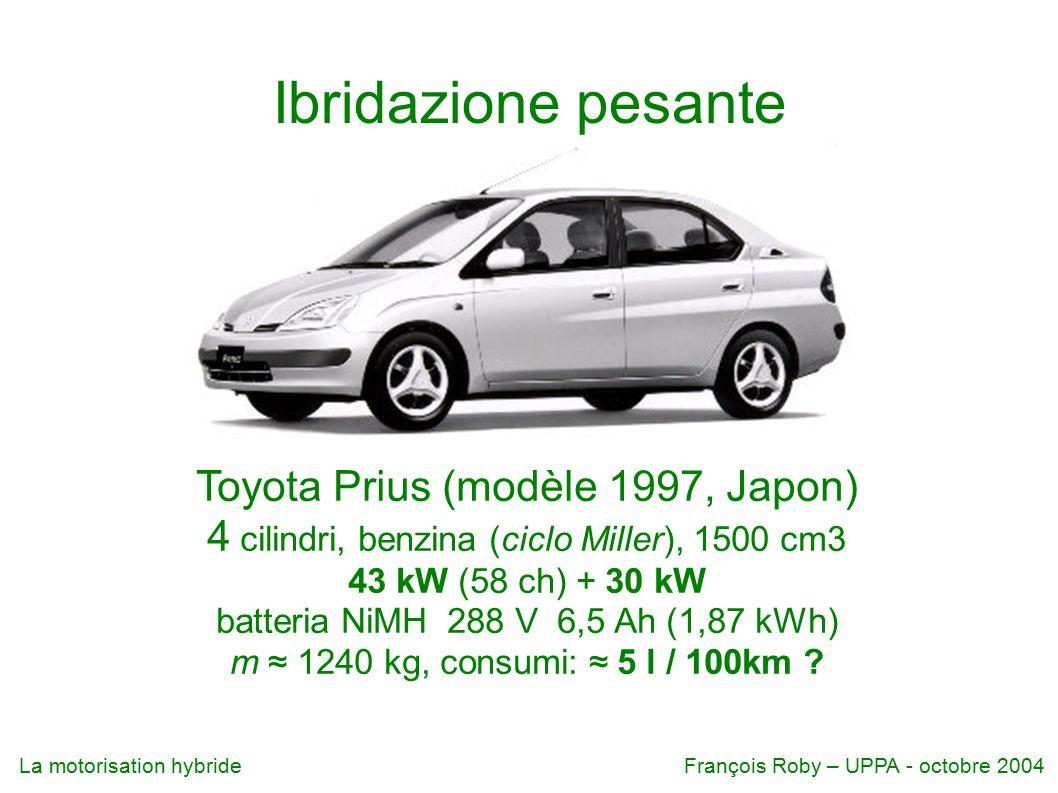 La motorisation hybrideFrançois Roby – UPPA - octobre 2004 Ibridazione pesante Toyota Prius (modèle 1997, Japon) 4 cilindri, benzina (ciclo Miller), 1500 cm3 43 kW (58 ch) + 30 kW batteria NiMH 288 V 6,5 Ah (1,87 kWh) m ≈ 1240 kg, consumi: ≈ 5 l / 100km ?
