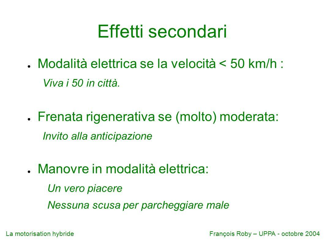 La motorisation hybrideFrançois Roby – UPPA - octobre 2004 Effetti secondari ● Modalità elettrica se la velocità < 50 km/h : Viva i 50 in città.