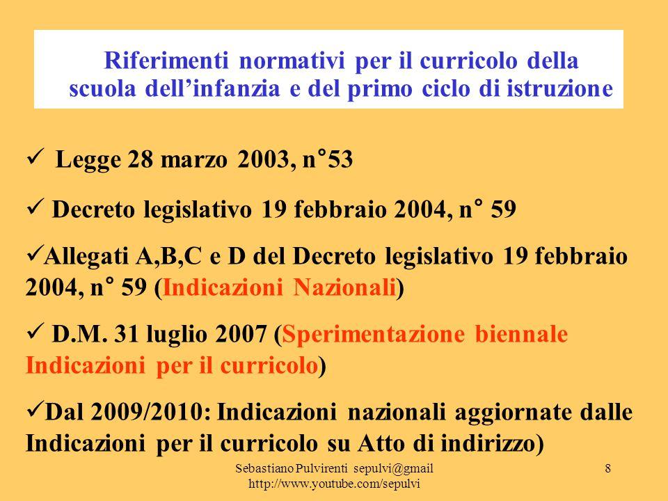 Sebastiano Pulvirenti sepulvi@gmail http://www.youtube.com/sepulvi 9 Il quadro sinottico del cambiamento La revisione degli Ordinamenti scolastici Regolamenti attuativi dell'art.