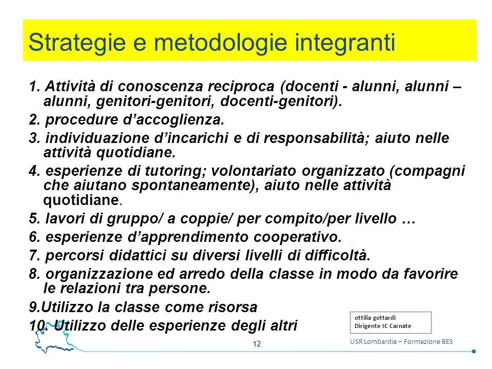 12 USR Lombardia – Formazione BES Strategie e metodologie integranti 1.