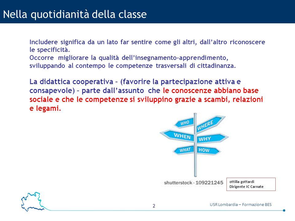 2 USR Lombardia – Formazione BES Nella quotidianità della classe Includere significa da un lato far sentire come gli altri, dall'altro riconoscere le specificità.