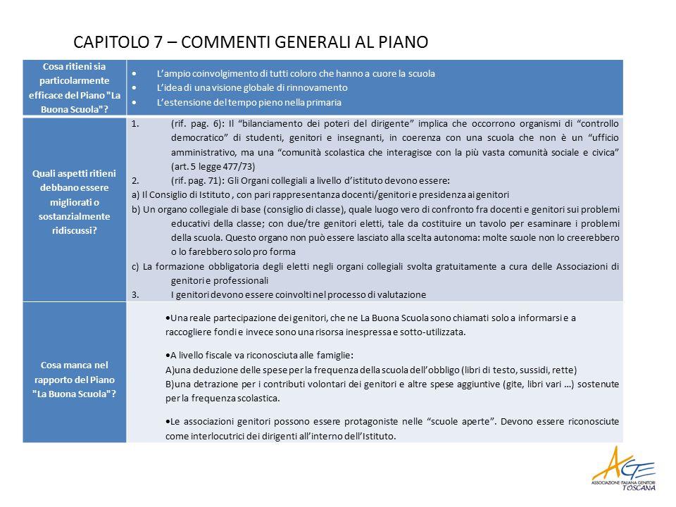 CAPITOLO 7 – COMMENTI GENERALI AL PIANO Cosa ritieni sia particolarmente efficace del Piano La Buona Scuola .