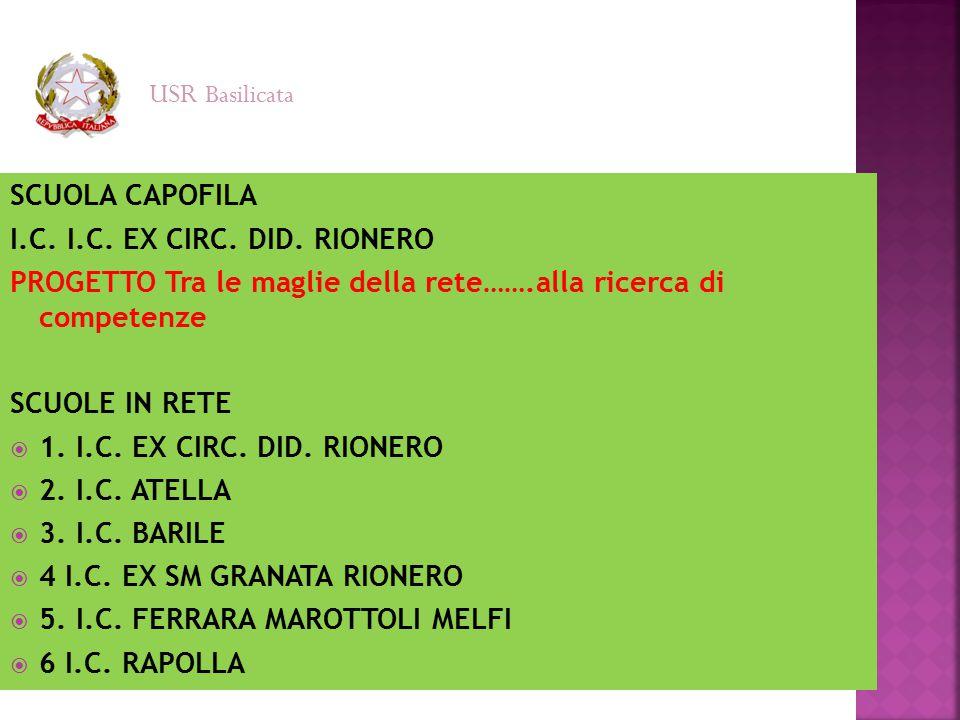 SCUOLA CAPOFILA I.C. I.C. EX CIRC. DID. RIONERO PROGETTO Tra le maglie della rete…….alla ricerca di competenze SCUOLE IN RETE  1. I.C. EX CIRC. DID.
