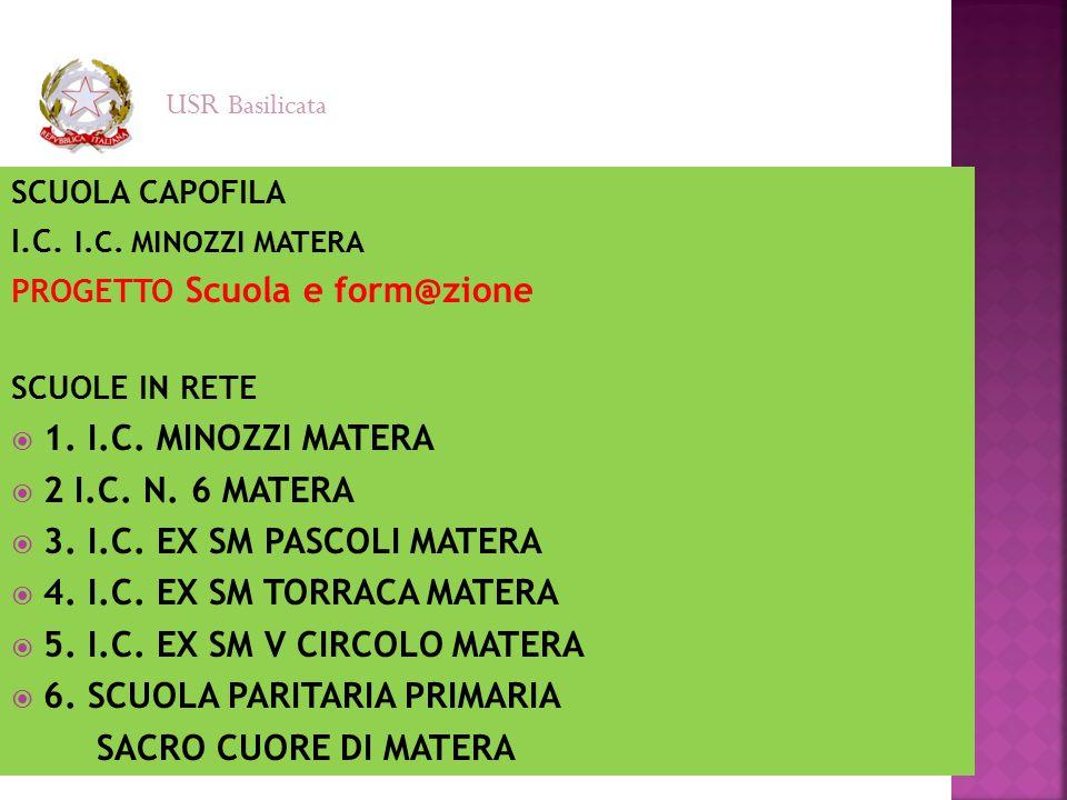 SCUOLA CAPOFILA I.C. I.C. MINOZZI MATERA PROGETTO Scuola e form@zione SCUOLE IN RETE  1. I.C. MINOZZI MATERA  2 I.C. N. 6 MATERA  3. I.C. EX SM PAS