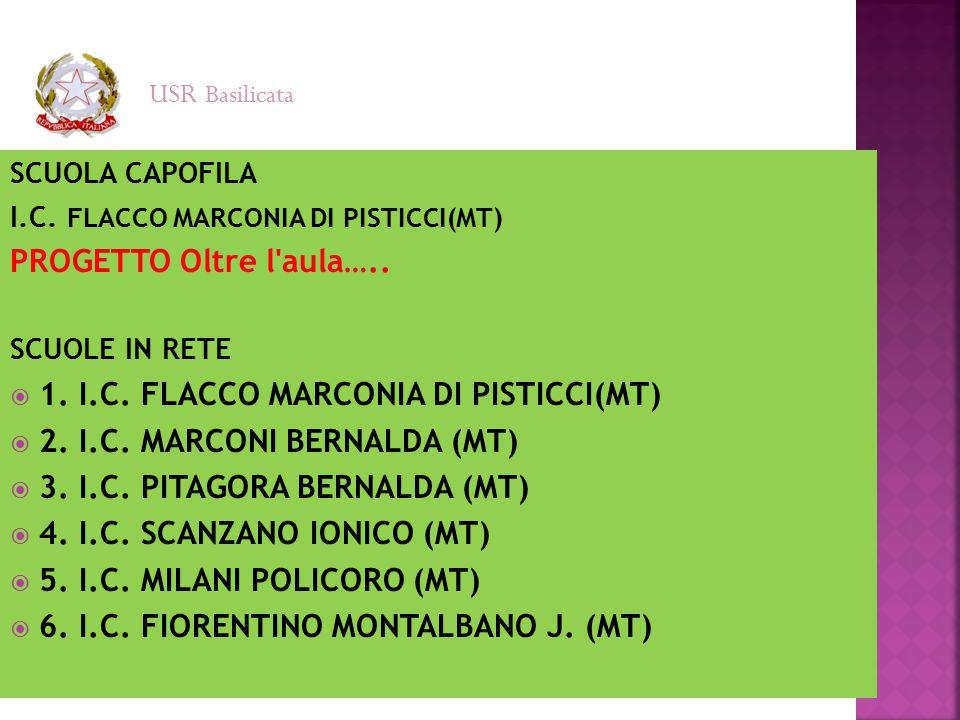 SCUOLA CAPOFILA I.C. FLACCO MARCONIA DI PISTICCI(MT) PROGETTO Oltre l'aula….. SCUOLE IN RETE  1. I.C. FLACCO MARCONIA DI PISTICCI(MT)  2. I.C. MARCO