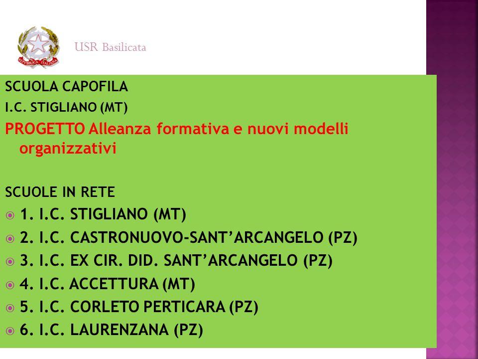 SCUOLA CAPOFILA I.C. STIGLIANO (MT) PROGETTO Alleanza formativa e nuovi modelli organizzativi SCUOLE IN RETE  1. I.C. STIGLIANO (MT)  2. I.C. CASTRO