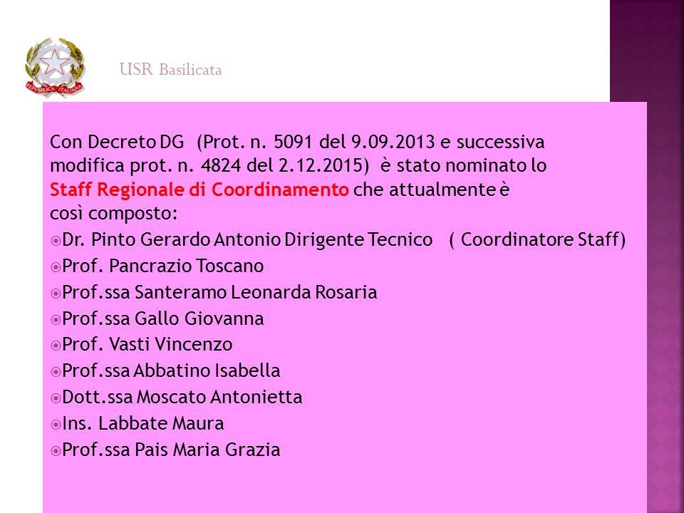 Con Decreto DG (Prot. n. 5091 del 9.09.2013 e successiva modifica prot. n. 4824 del 2.12.2015) è stato nominato lo Staff Regionale di Coordinamento ch