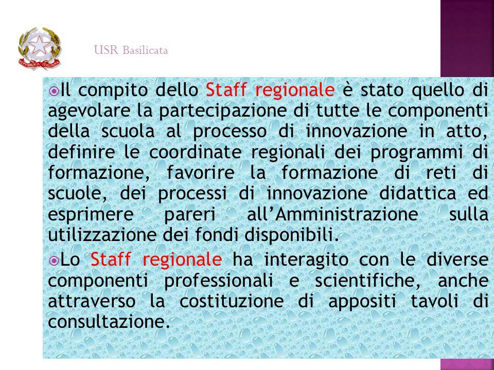  Il compito dello Staff regionale è stato quello di agevolare la partecipazione di tutte le componenti della scuola al processo di innovazione in att