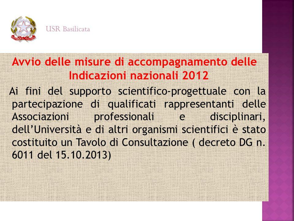 Avvio delle misure di accompagnamento delle Indicazioni nazionali 2012 Ai fini del supporto scientifico-progettuale con la partecipazione di qualifica