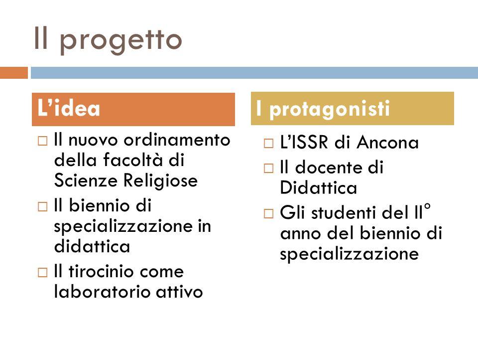 Il progetto  Il nuovo ordinamento della facoltà di Scienze Religiose  Il biennio di specializzazione in didattica  Il tirocinio come laboratorio at