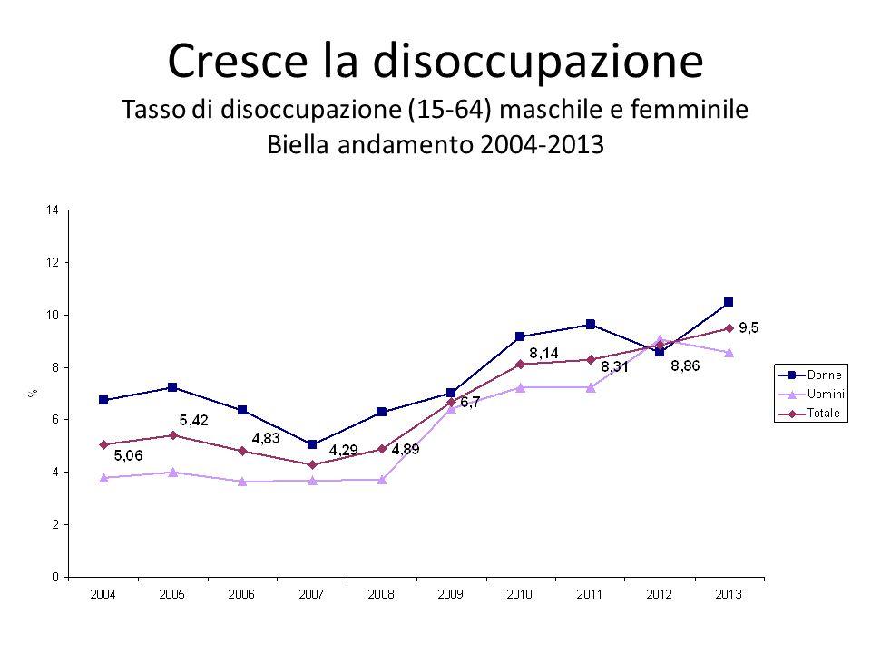 Cresce la disoccupazione Tasso di disoccupazione (15-64) maschile e femminile Biella andamento 2004-2013