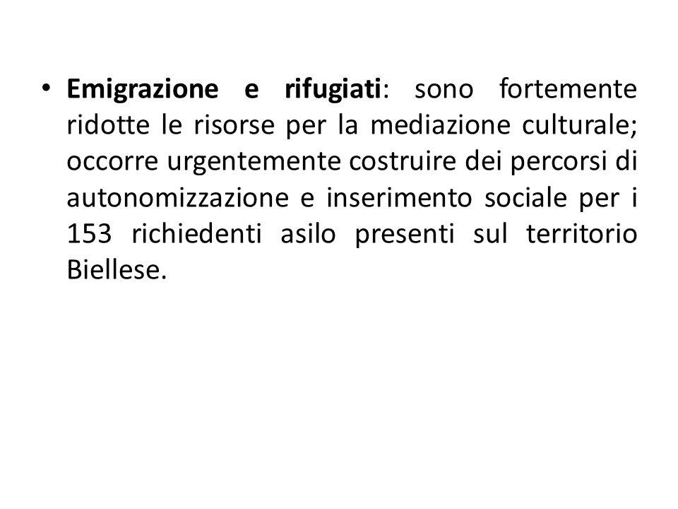 Emigrazione e rifugiati: sono fortemente ridotte le risorse per la mediazione culturale; occorre urgentemente costruire dei percorsi di autonomizzazione e inserimento sociale per i 153 richiedenti asilo presenti sul territorio Biellese.