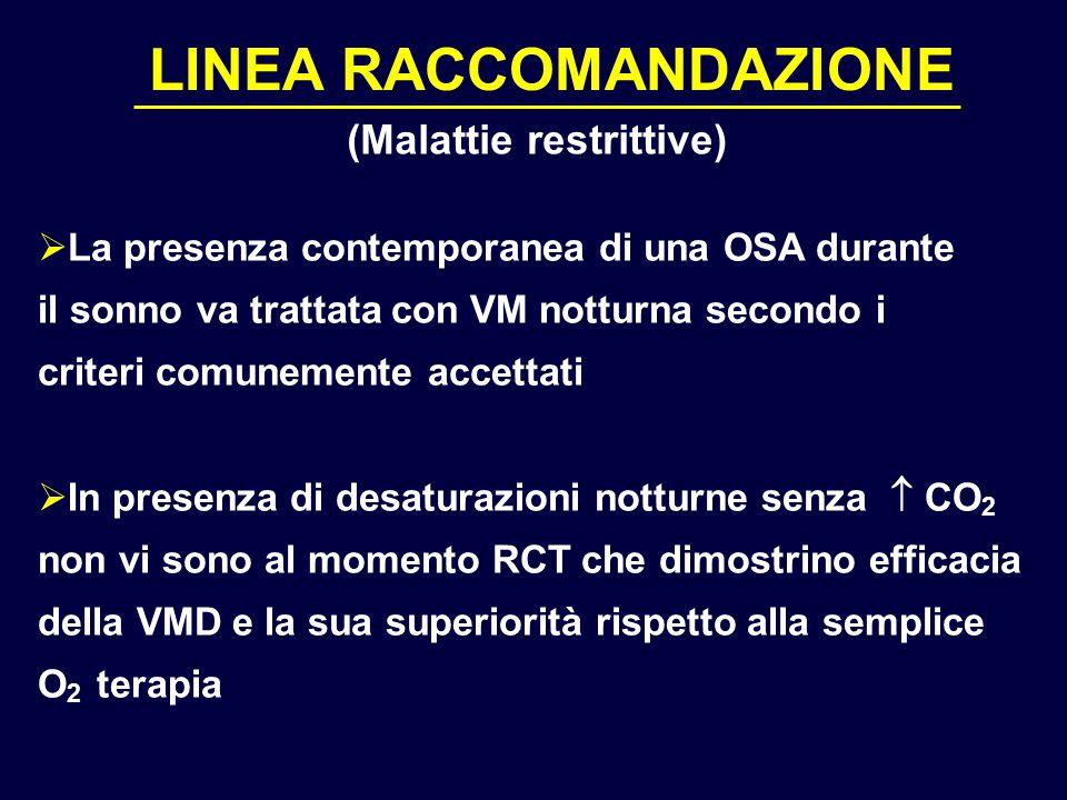 LINEA RACCOMANDAZIONE  La presenza contemporanea di una OSA durante il sonno va trattata con VM notturna secondo i criteri comunemente accettati  In