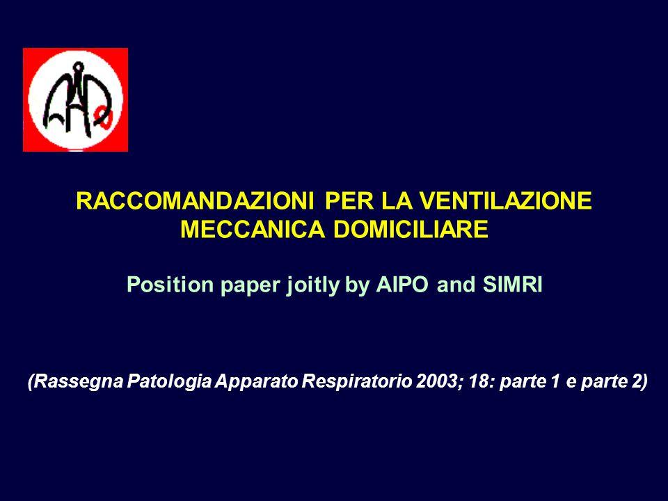 RACCOMANDAZIONI PER LA VENTILAZIONE MECCANICA DOMICILIARE Position paper joitly by AIPO and SIMRI (Rassegna Patologia Apparato Respiratorio 2003; 18: parte 1 e parte 2)