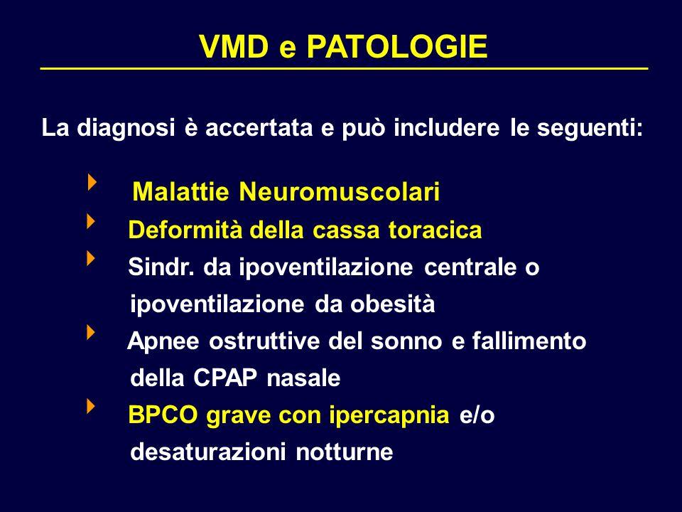 VMD e PATOLOGIE La diagnosi è accertata e può includere le seguenti:  Malattie Neuromuscolari  Deformità della cassa toracica  Sindr. da ipoventila