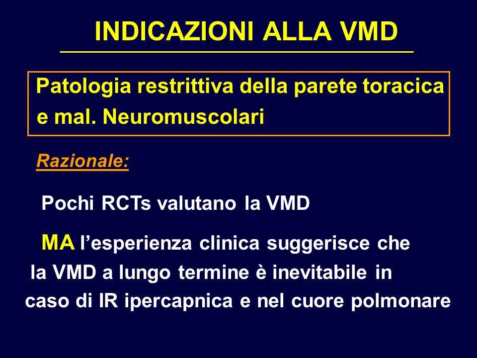 INDICAZIONI ALLA VMD Patologia restrittiva della parete toracica e mal. Neuromuscolari Pochi RCTs valutano la VMD MA l'esperienza clinica suggerisce c
