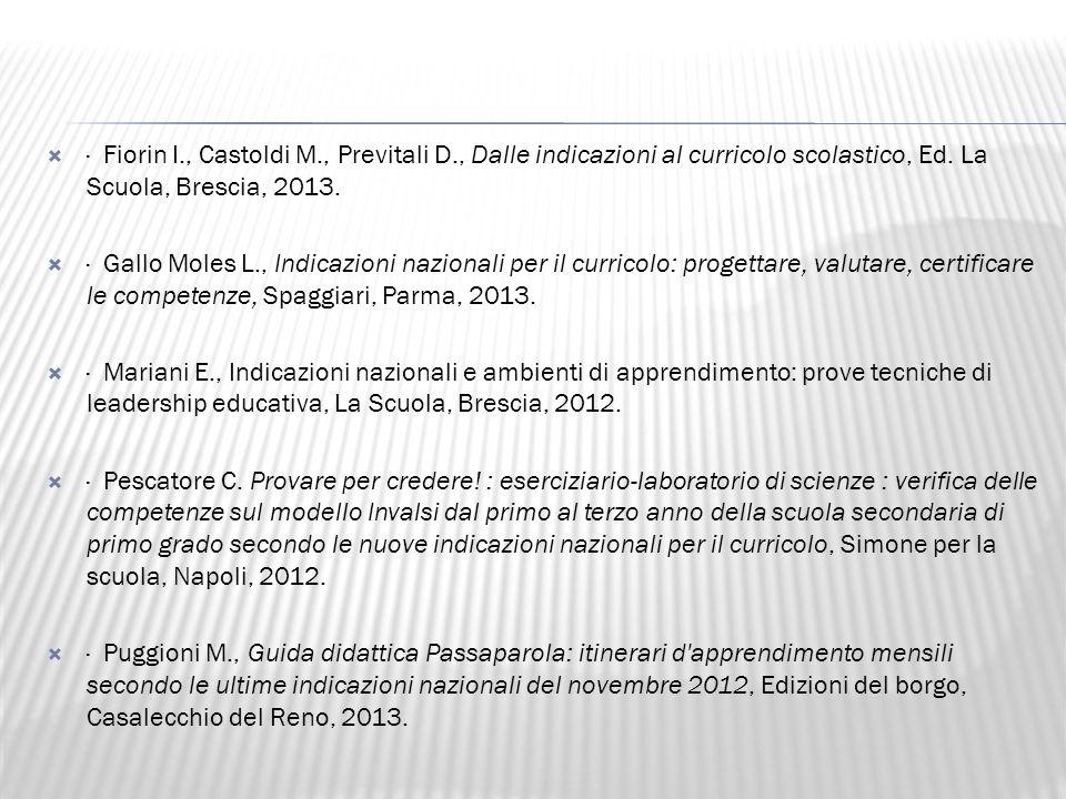  · Fiorin I., Castoldi M., Previtali D., Dalle indicazioni al curricolo scolastico, Ed.