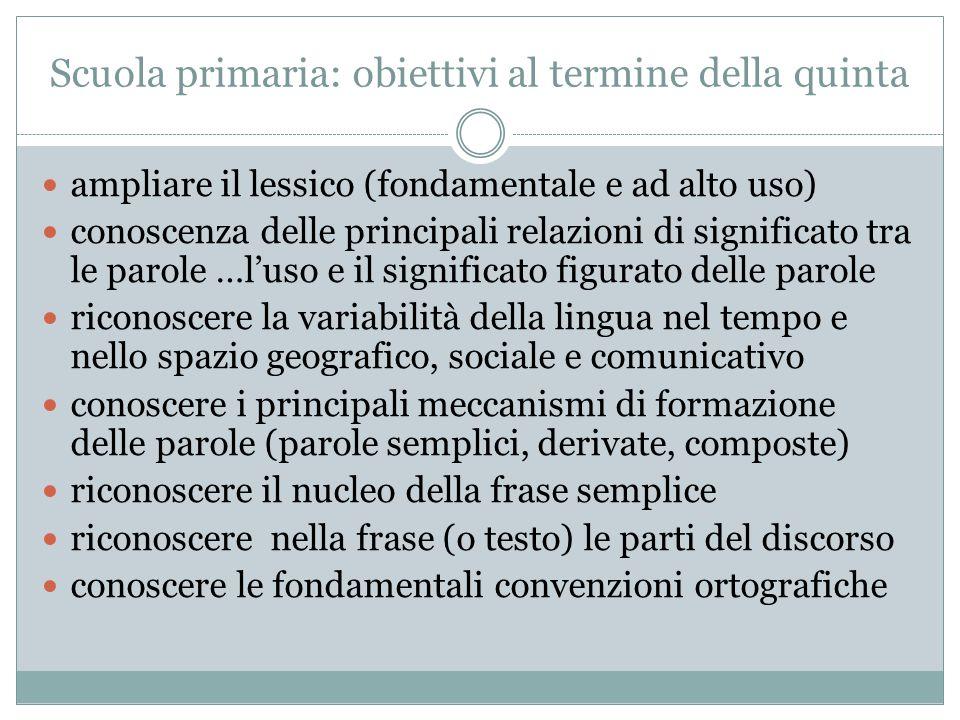 Scuola primaria: obiettivi al termine della quinta ampliare il lessico (fondamentale e ad alto uso) conoscenza delle principali relazioni di significa