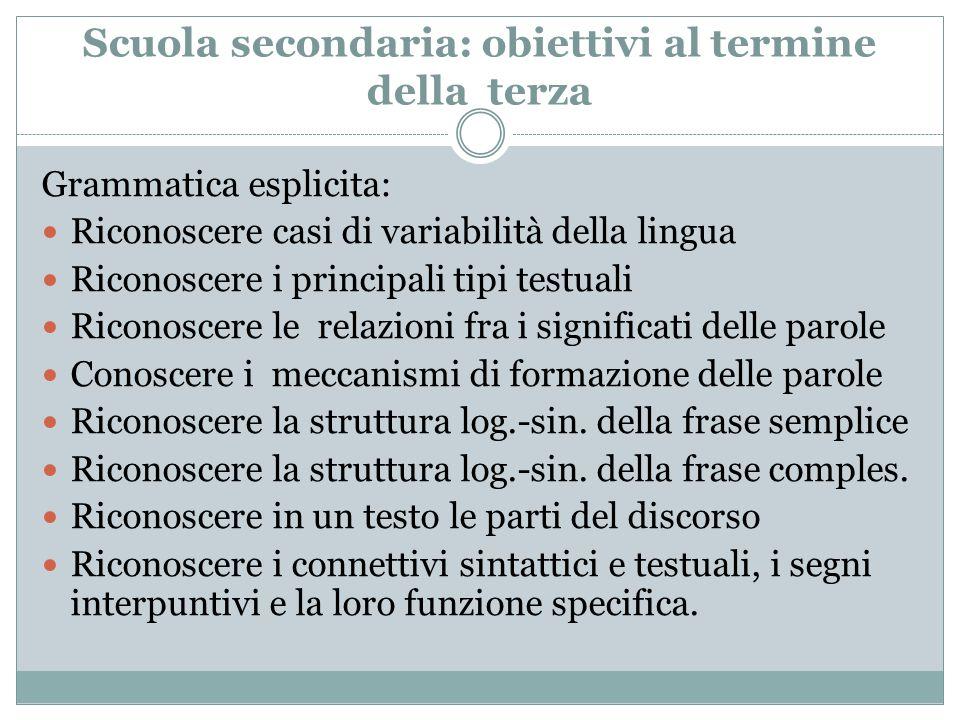 Scuola secondaria: obiettivi al termine della terza Grammatica esplicita: Riconoscere casi di variabilità della lingua Riconoscere i principali tipi t