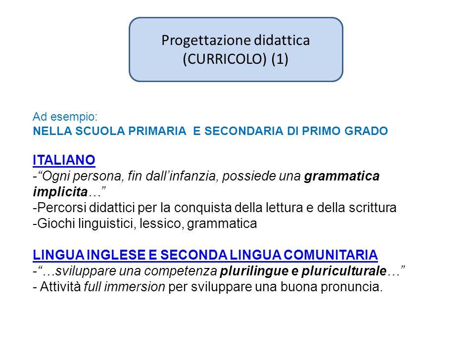 Progettazione didattica (CURRICOLO) (1) Ad esempio: NELLA SCUOLA PRIMARIA E SECONDARIA DI PRIMO GRADO ITALIANO - Ogni persona, fin dall'infanzia, possiede una grammatica implicita… -Percorsi didattici per la conquista della lettura e della scrittura -Giochi linguistici, lessico, grammatica LINGUA INGLESE E SECONDA LINGUA COMUNITARIA - …sviluppare una competenza plurilingue e pluriculturale… - Attività full immersion per sviluppare una buona pronuncia.