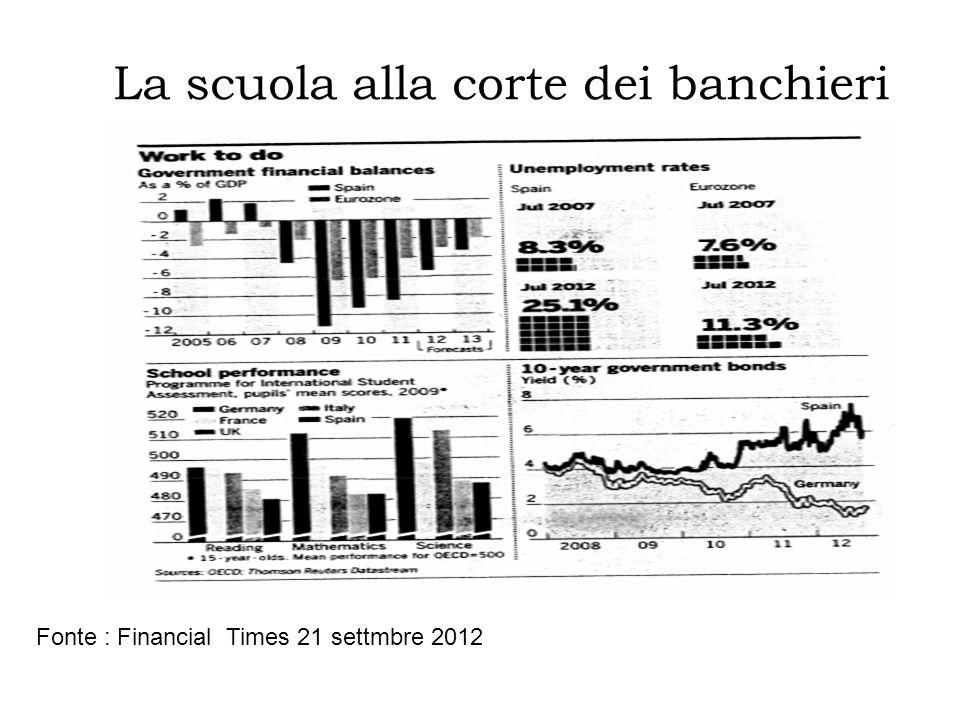 La scuola alla corte dei banchieri Fonte : Financial Times 21 settmbre 2012