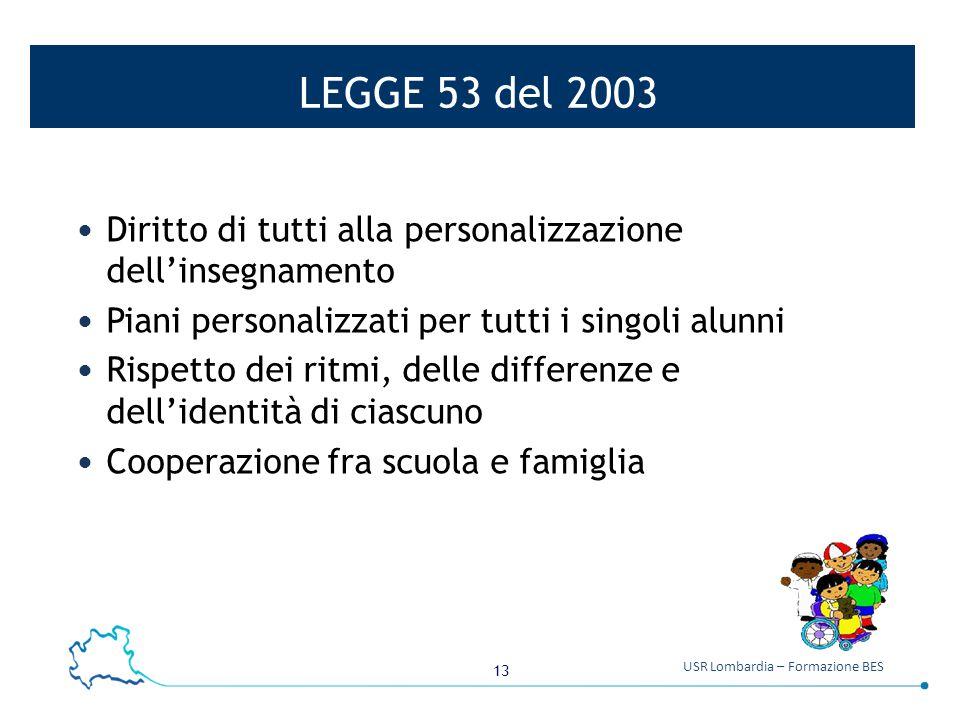 13 USR Lombardia – Formazione BES LEGGE 53 del 2003 Diritto di tutti alla personalizzazione dell'insegnamento Piani personalizzati per tutti i singoli alunni Rispetto dei ritmi, delle differenze e dell'identità di ciascuno Cooperazione fra scuola e famiglia