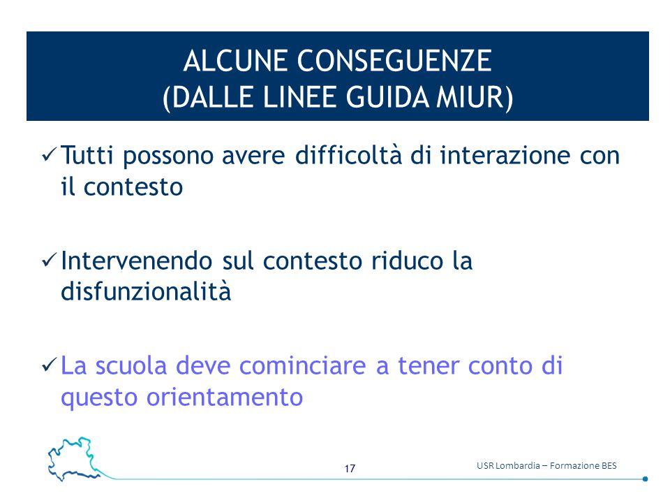17 USR Lombardia – Formazione BES ALCUNE CONSEGUENZE (DALLE LINEE GUIDA MIUR) Tutti possono avere difficoltà di interazione con il contesto Intervenen
